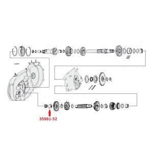 Naaldlager, hulp-as, links / Needle bearing, countershaft, left
